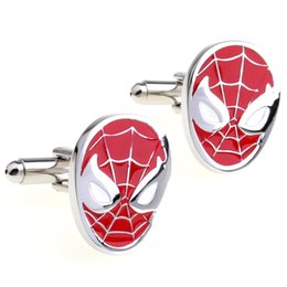 Free shipping Classic Justice Spider-Man Superhero Men Cufflinks Red Enamel Cuff Link Shirt Sleeve Cuff Links 960087