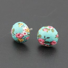 Wholesale 6pairs New Fashion Flower Print Button Stud Earrings Set size cm Plastic Pin Allergy Free Cute Small Earrings For Women Girls Mix Color