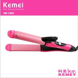 Lisseur d'onde en Ligne-Soins des cheveux Kemei KM-1055 2 en 1 double rouleau Lisseur Curler Fer à friser céramique vague fer à lisser Fer à friser