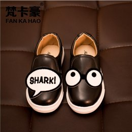 Wholesale Shark Cartoon le girl boys girls breathable face shoes yard age PU cuff lazy comfortable baby shoes Eyes Sneaker