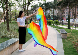 2016 sales of 100% high-quality silk handmade silk veil belly dance fan, Colorful vertical stripes 180 * 90 cm one pair of dress