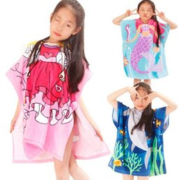 Children's Cotton bathrobes Mermaid cartoon printed cotton children's hooded bath towel cape
