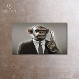 Wholesale Sarcastic Disguiser Painting Animals Canvas Wall Art Picture Monkey Oil Painting Giclee Printed For Living Room Home Decor