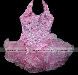 Wholesale 2016 Halter Little Girls Cupcake Infant Pink Sequins Short Gowns Toddler Baby Kids Pageant Dresses Baby Girl Party Dresses Pink