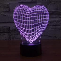 2017 New Style Heart 3D Optical Night Light 9 LEDs Night Light DC 5V Factory Wholesale