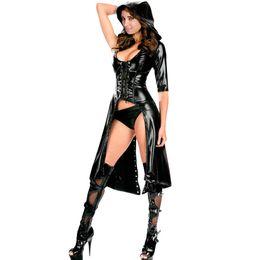 Wholesale Sexy Leather Uniform Women - Ladies Fashion Dance Costume Bar Uniform Sexy Black Gothic Punk Wetlook Sweet Pea Hooded Coat Gown Dress