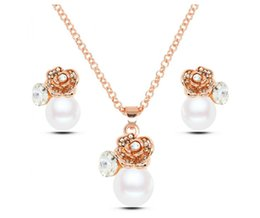 High-Grade Flower Pearl Jewlery Set Fashion Brand Necklace Earrings 2016 Newest Jewelry Alloy Jewelry Set For Women 2016064