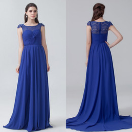 2016 Coral Country Bridesmaids Dresses Long A line Chiffon Royal Blue Prom Gowns Lace Bridesmaid Dresses Cheap
