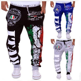 Free Shipping 2017 Autumn and Winter New Italian Flag Printing Design Leisure Sports Pants