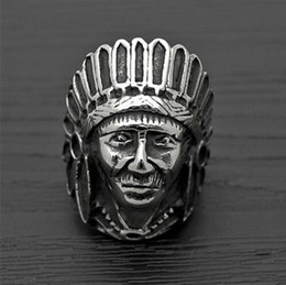 Wholesale Tibetan Silver Fashion Tribe Men Apache Indian Chief Head Ring Punk Figure Jewelry