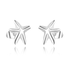 925 Sterling Silver Starfish Earrings Clip-back Ear Studs