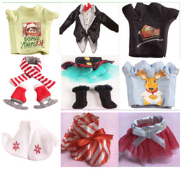 Wholesale 2016 Hot Sell Cristmas Shelf Winter Set Boots Tartan Skirt Boots Satin Tiered Skirt Elf Clothes Doll Accessories