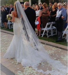 one-layer Best Price Wedding Veil Tulle Long Bridal Veils with lace Applique