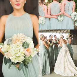 Wholesale Sage Green Simple Chiffon Bridesmaid Dresses A Line Halter Jewel Neck Summer Garden Beach Bridesmaid Group Maid Of Honor Gowns Cheap