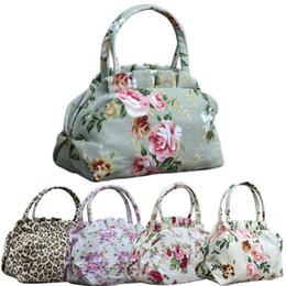 Shipping Women Lady Vintage Floral Flower Bowknot Canvas Leopard Print Casual Handbag Shoulder Bag