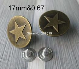 Wholesale 17MM Star Jeans Button sets Antique Brass Color Trousers Buttons Garment accessories