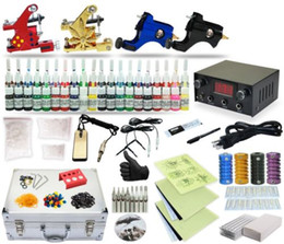 Wholesale Complete Tattoo Kit Machine Guns Power Supply Foot Pedal Switch Color Ink TK Revised black case