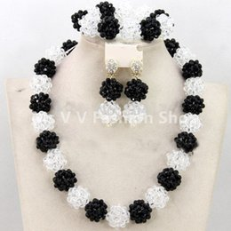 2019 new arrival black white Women Birthday Gift Crystal Jewelry Set Handmade ball Choker Nigerian Wedding Necklace Set Free Shipping