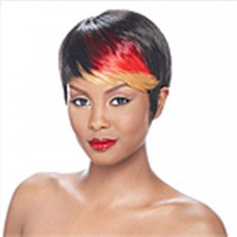 New Stylish Mix Color in the front Short Straight Afirican American Wig Lady's Fashion Synthetic Wigs