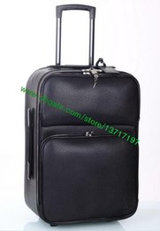 Wholesale Top Grade Black Real Leather Rolling Luggage Fashion Designer DarwBar Travel Suitcase Pilot Case N23206 M23205