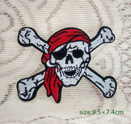 Pirate Skul CROSSBONES Red Hood ROCKABILLY motorcycle biker jacket Iron on Embroidered patch Gift shirt bag trousers coat Vest Individuality