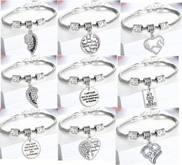 5PCS lot 9styles Vintage Silver Pendant Charm Engraved Dad Mom Heart Bracelet Bangle AS Gift For Family