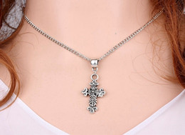 Mixing Styles 10PCS Vintage Silver Cross Necklaces Pendants Charms Collar Statement Choker Fashion Jewelry For Women V01