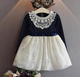 Wholesale Korean Casual Formal Dressing - halloween 2016 Kids Clothing Korean Style Girls Long Sleeve Elegant Ball Gown Dress Childrens Lace Embroidered Fashion Princess Dress 1572
