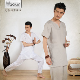 Wholesale and summer men s Cotton Yoga suit male Yoga wear summer clothes meditation male lay clothes meditation tea service
