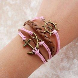 Wholesale armbanden la moda pulseras voor vrouwen amor de anclaje para el hombre y la mujer pulsera de cuero para los hombres pulsera del abrigo pulsera magnética