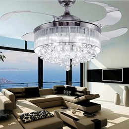 Wholesale Led Ceiling Fans Light AC V V Invisible Blades Ceiling Fans Modern Fan Lamp Living Room Bedroom Chandeliers Ceiling Light Pendant Lamp
