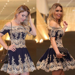 2017 New Gold Appliques Short Lace Homecoming Dresses off Shoulder Satin Ball Gowns Short Sleeves Navy Blue Cheap Cocktail Party Dresses