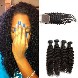 Unprocessed Indian Deep Wave Virgin Hair 4 Bundles With Closure Indian Virgin Hair With Lace Closure G-EASY Hair Products