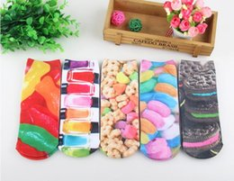 3D Short tube Harajuku style personality cotton socks pattern item Q painting Colorful Biscuits