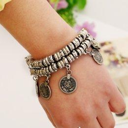 Wholesale Europe and America alloy antique vintage tassel coin women fashion charm bracelet colors Factory sale