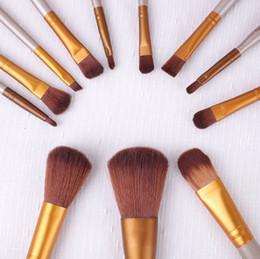 Makeup Brushes 12Pcs Set gold Make Up Cosmetic Brush Kit eye shadow Toiletry beauty appliances makeup brush Iron box