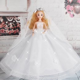 Wholesale Bobbi doll wedding bride wedding dress big tail ornaments D real eye girl birthday gift toys for children