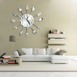Wholesale Wall Clocks Modern Sliver Cutlery Kitchen Wall Clock Spoon Fork Creative Mirror Wall Stickers Mechanism New Design Home Decor YZ