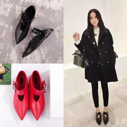 best quality! U523 34 40 2 COLORS GENUINE LEATHER POINTY BELT FLATS shoes casual mary jane ce runway celeb fashion vogue black red slide