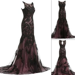Black Mother Of The Bride Dresses 2016 Real Photos Mermaid Trumpet Style Sheer Appliques Lace Full Length Mother's Evening Gowns