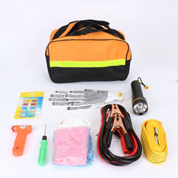 Wholesale 9 in Driving Car Ride FireWire Car Emergency Kit Automotive First Aid Kit Accessory Car Maintenance Tools With Tow Rope Rescue Hammer