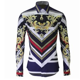 2017 New Arrival Men Fashion Printed Shirts royal Long Sleeve Slim fit Shirts High Quality camisa masculina Shirt Men