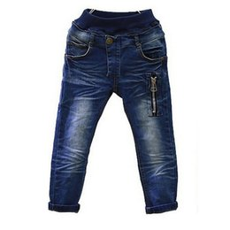 Wholesale Boys Jeans Kids Pants with Zipper Spring Autumn Children s Trousers Warm Baby Denim Jeans for Y