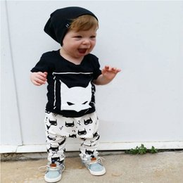 Hot INS Baby Boy clothes 2pcs Short Sleeve Captain america T-shirt Tops +Pants printed Outfit Clothing Set Suit lovely gift for kids baby