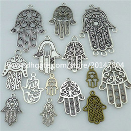 Wholesale 14PCS MIX Alloy Faith Religious Hand of Fatima Hamesh Hand Hamsa Hand Pendant rating Write a review