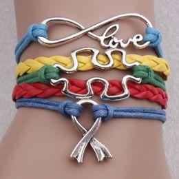 Wholesale JigSaw Puzzle Piece Autism Awareness love Alloy Charm Wrap Bracelets Leather Wax Unisex Women Fashion Gift Custom