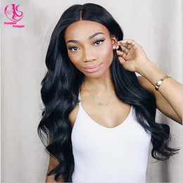 Hot sales High Quality 180% density middle part synthetic lace front wig black wigs Glueless Heat Resistant Body Wave wigs for black woman