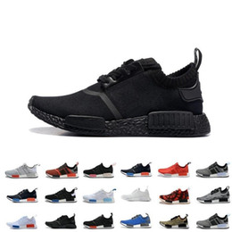 Wholesale Cheap NMD R1 Monochrome Mesh Triple White Black Men Women Running Shoes Sneakers Fashion NMD Runner Primeknit Casual Shoes