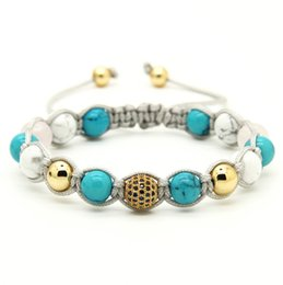 Wholesale 10pcs lot White Howlite Marble & Turquoise Stone Beads with 9mm Blue Micro Paved Blue Cz Beads Macrame Bracelet