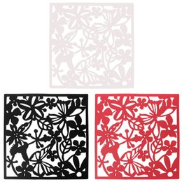 Wholesale 4pcs Butterfly Flower Wallpaper Wall Sticker Hanging Screen Curtain Room Divider Partition Home Decoration Black Red White